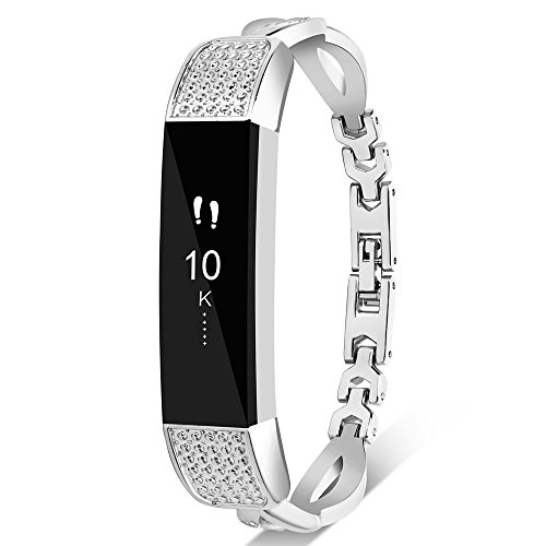 Nigaee Fitbit Alta HR Correa Fitbit Alta Correa Fitbit Alta HR Design Pulsera Fitbit Alta HR Stainless Steel Wristbands/Replacement Bands/Accessories for Fitbit Alta HR and Alta Bangle Silver