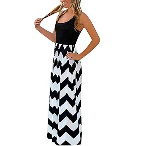 Damen Sommerkleid Lang Maxikleid Strandkleider Partykleid Maxi Kleider mit Streifen (Schwarz, M)