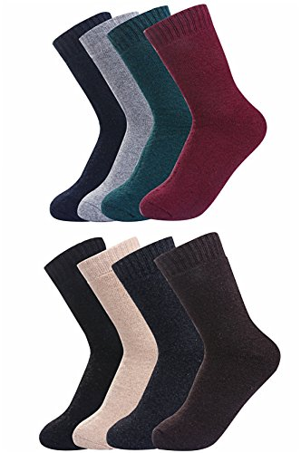 Luxina 8 Pairs Warm Thick Wool Knitting Autumn Winter Socks for Men Solid Color