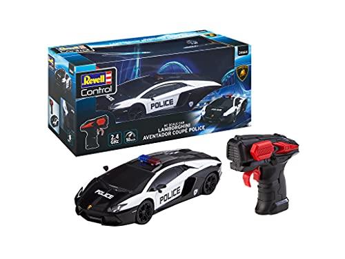 Revell- RC Scale Car Lamborghini Aventador Police, Mando a distancia GHz para diestros / zurdos, iluminación frontal, 1:24, 19,9 cm Coche teledirigido, Negro (24663)