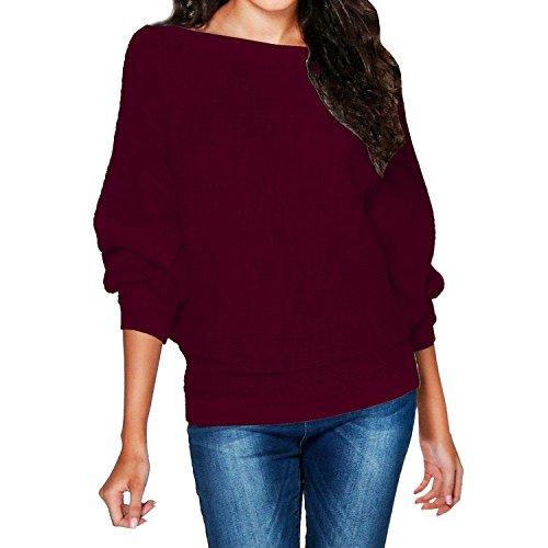 Minetom Mujer Mangas Largas Suéter Largo Casual Jersey Prendas De Punto De Cuello Redondo Color Sólido Jumper Tops Camisetas Vino Rojo ES 38