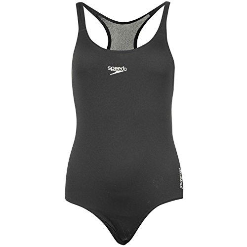 Speedo Medallist Damen Badeanzug Schwimmanzug Sport Einteiler Bademode Schwarz 12