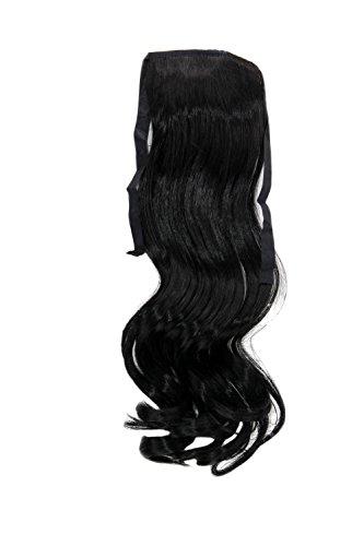 WIG ME UP ® - YZF-TC18-1 Haarteil ZOPF Schwarz wellig 45cm Band Haar Klammer Haarverlängerung