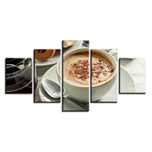 woplmh Wall Art Pictures Home Decoration Posters 5 Panel Coffee Cappuccino Cup Living Room HD Printed Modern Painting On Canvas-30x40 30x60 30x80cm(No Frame)