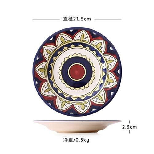 iqqo Exotische handbemalte marokkanische Italien böhmischen Stil Teller 8,5 Zoll Bunte Salatteller Dining Decoration Plate-9