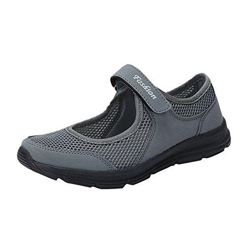 LANSKIRT Zapatillas Running de Mujer Sin Cordones Zapatos de Verano 2019 Velcro Moda Sandalias de Antideslizantes Zapatillas Deportivas para Correr Calzado Comodo Transpirables (Gris Oscuro, 37 EU)