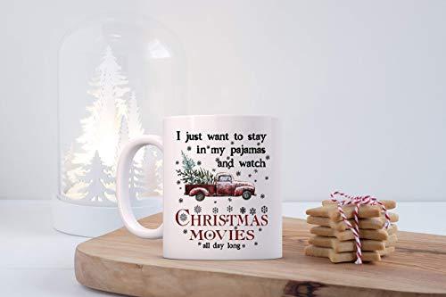 N\A Yo sólo Quiero Estar en Pijama Y Reloj de Navidad Películas Taza, Festivas de café Regalo de la Taza Mujer Amigo, Compañero de Trabajo