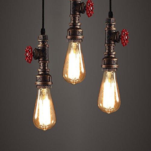 WINSOON 3 Pack Antique Pipe Light Fixture Rustic Bronze Metal Hanging Pendant Lighting