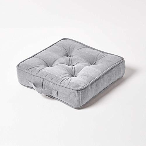 Homescapes Sitzkissen Rajput 40 x 40 cm, Stuhlkissen in RIPP-Optik aus 100prozent Reiner Baumwolle mit Polyesterfüllung, perfekt als Bodenkissen, Silber Grau