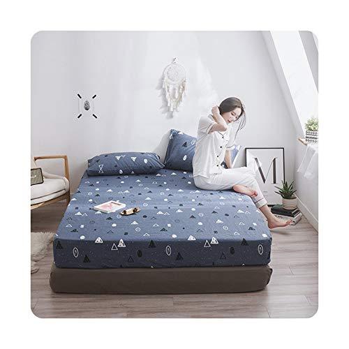 1 sábana bajera con estampado de algodón 100 %, 4 esquinas con banda elástica (sin fundas de almohada) yuecao-140 x 200 x 25 cm.