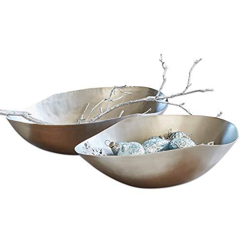 Loberon Schale 2er Set Sibylle, Aluminium, H/B/T ca. 14/59 / 33 cm, silber