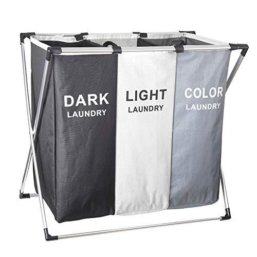 Hermar Cesto plegable para la ropa sucia con 3 compartimentos, tamaño XXL, 100 L, sistema de organización de 3 compartimentos, color oscuro, claro y colores