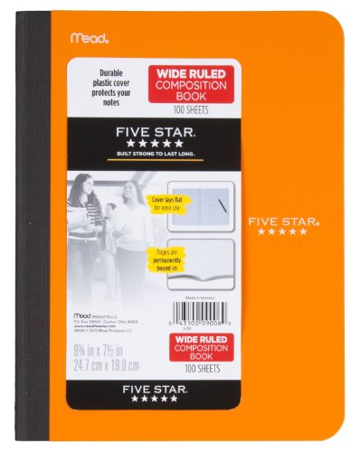 "Five Star Composition Book/Notebook, Wide Ruled Paper, 100 Sheets, 9-3/4"" x 7-1/2"", Color Selected For You (09006)"