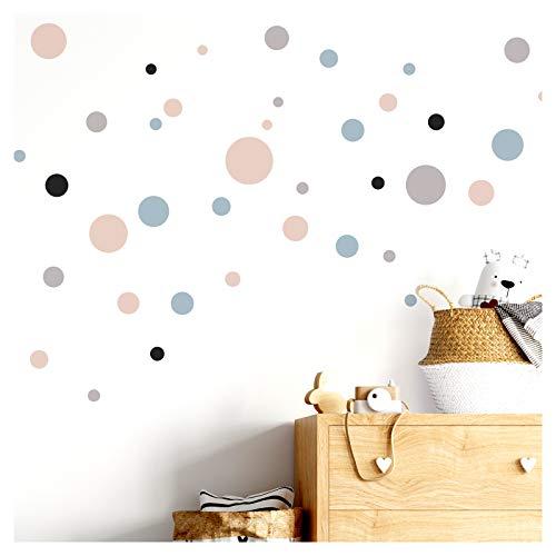 Little Deco Imágenes infantiles, animales de safari, complementos, círculos rosados y azules, adhesivo decorativo para pared, para habitación de bebé, para niños, DL306