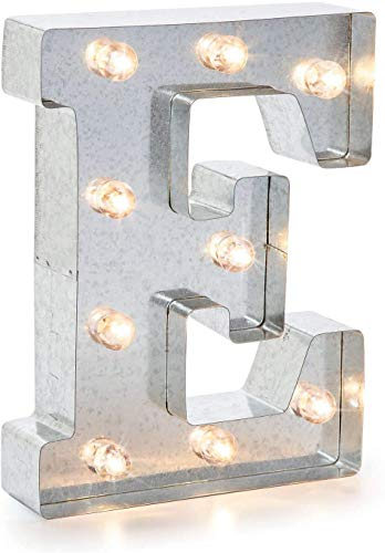 "Darice 5915-706 Silver Metal Marquee Letter – E-9.87"" Tall, Galvanized Finish"