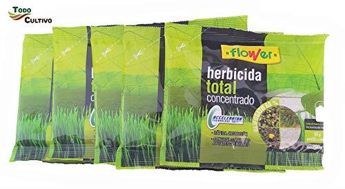 Herbicida Total Concentrado glifosato 68%. Pack 5 Sobres 1000 Metros Cuadrados (50 liltros de Agua). Utilizado para la eliminación Total de Malas Hierbas