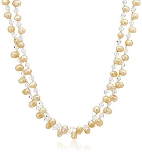[ピュアパール] Pure Pearl 淡水パール&クリスタルガラス きらきら ネックレス シャンパンゴールド クリッカー付き PP1111N-CP(100)