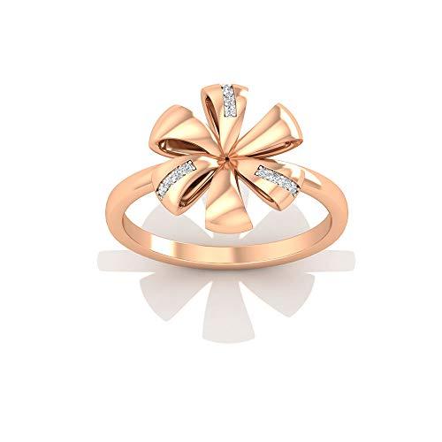 Sólidos anillos de boda de oro de 14 K, con diseño de flor de oro de 18 K, con certificado IGI, anillos de boda con diamantes para ella, 14K Oro rosa, Size:EU 67