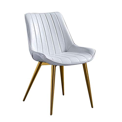 PU Dining Chairs 1 Piece Kitchen Chair Faux Leather Seat Golden Metal Legs Reception Chairs with Backrest Soft Cushion (Color : White)