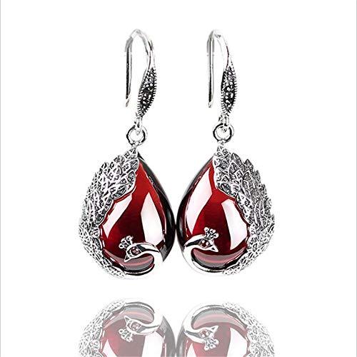 XHXXHX Damen 925 Sterling Silber Ohrringe, rote Granat Vintage Edelstein Tropfen Ohrringe, hochwertige Geschenke,Red