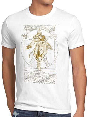 A.N.T. Vitruvianischer Assassine Herren T-Shirt Desmond Miles, Größe:M, Farbe:Weiß