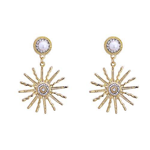 Pearl Sunflower Ear Studs Jewelry Dangle Drop Earrings for Women Girls Pendant Gifts