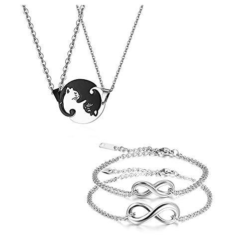 JewelryWe Collares y Pulseras para Parejas,Colgante de Gatos Negro Blanco Acero Inoxidable,Pulsera de Infinit,Regalo Original de Navidad San Valentin,Regalos para Parejas
