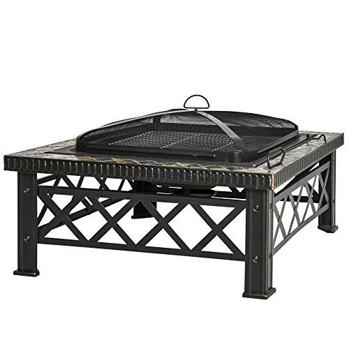 Outsunny Brasero Exterior Calentador de Fuego 76x76x47 cm Multifuncional 3 en 1 Cuadrada Cubo de Hielo para Calefacción Barbacoa Terraza Jardín Negro