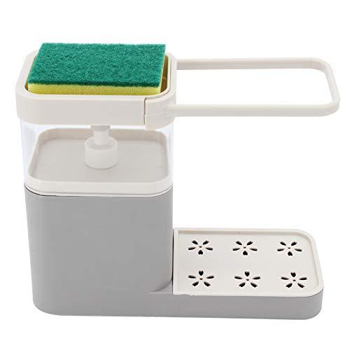 TAECOOOL Verbesserter Seifenspender, Seifenspender und Schwammhalter Waschbecken Spülseifenspender, Seifenspender für Küchenutensilien (Grau)