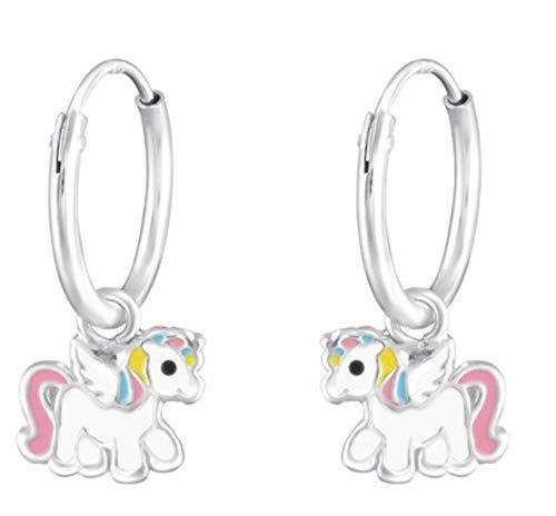 LRP Rainbow Love Unicorn Pendientes de aro de plata 925 con diseño de caballo