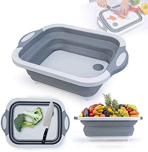 Tabla de Cortar Plegable 3 in 1,Cesta de almacenamiento, Fregadero de lavado, Tabla de cortar para drenaje, Portátil, Para frutas de la cocina, Verduras, Camping, Al aire libre, Viajes, gris
