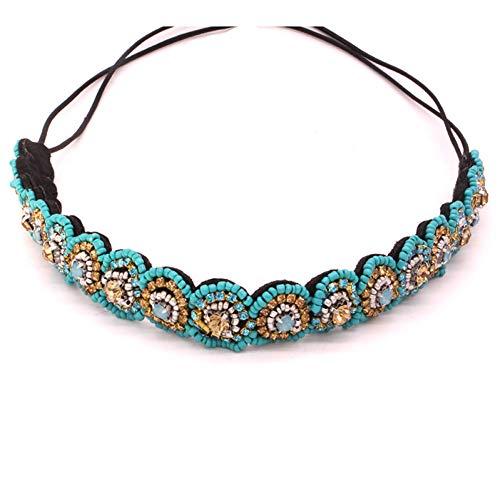 JINGMO Vintage Bohème Ethnique Bleu Perles De Rocaille Bandeau Fête Or Strass Cheveux Bande Accessoire De Cheveux