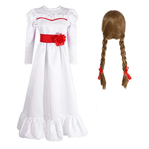 Nuoqi Annabelle Costume and Annabelle Wig, Womens Girls Horror Scary Annabelle Doll White Dress for Halloween Party M