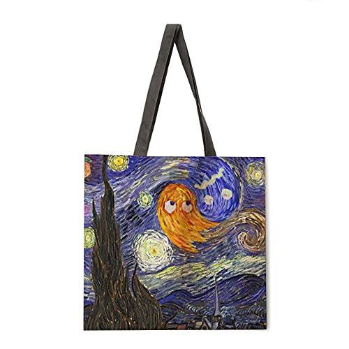 Pintura al óleo Punto de Costura Bolsa de Asas Bolsa de Asas Casual Bolsa de Asas Hombro Bolsa de Playa Femenina Bolsa de Compras Plegable (Color : 1, tamaño : A)