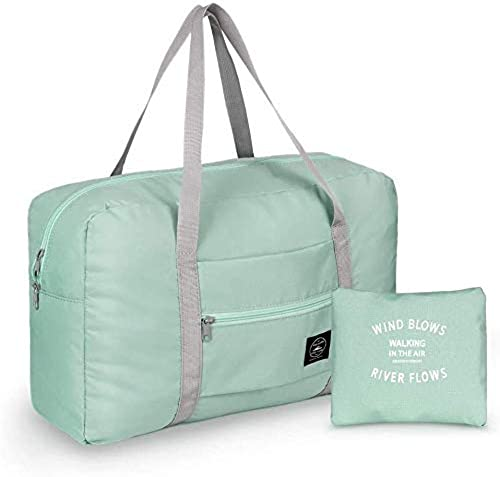 Waterproof Folding Nylon Travel Duffel Bag Luggage Sports Gym Carry On Compression Pouch Bag with Shoulder Straps with Zipper Closure Green