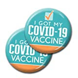Covid Vaccination Pin - I Got My Covid-19 Vaccine Button - 2-Pack - 2-1/4 Inch Blue Design 142