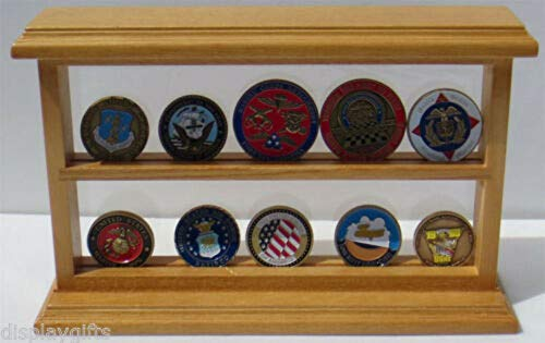 Challenge Coin Medal Pin Display Stand Case, UV Protection, COIN10-OA