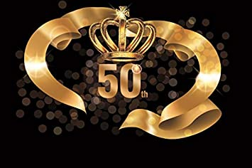 Yeele 7x5ft Happy 50Th Birthday Background for Photography 50 Year Old Celebration Golden Crown Streamer Photo Backdrop Party Decoration Banner Adult Portrait Booth Shoot Studio Vinyl Props
