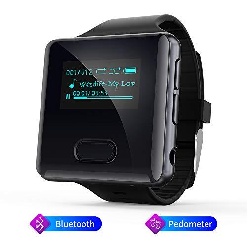 MP3 Player, 16GB Clip Bluetooth MP3 Player mit Schrittzähler FM Radio Sprachaufzeichnung, Uhr MP3 Player Speicher Erweiterbar bis 128 GB (U3)