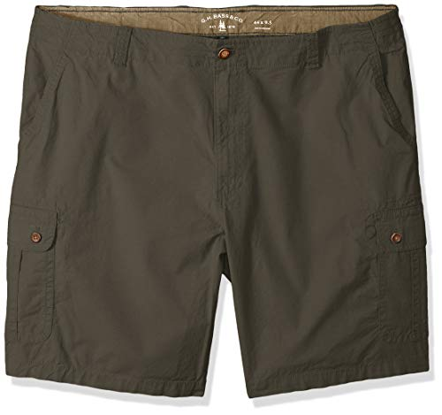 G.H. Bass & Co. Men's Big and Tall Ripstop Stretch Cargo Short, Army dust, 44