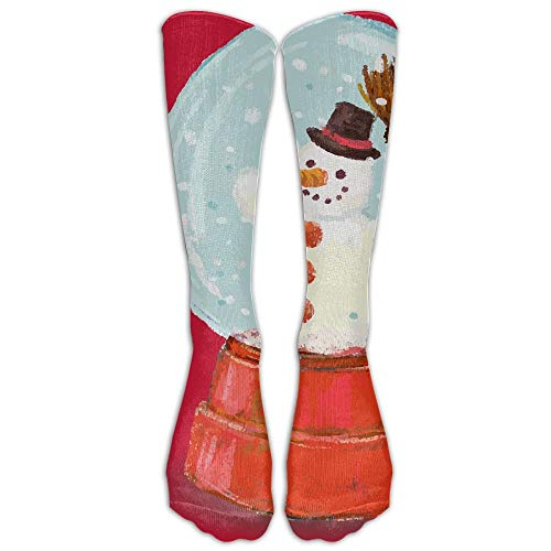 Lange Kleidersocken Lässig Schneekugel Schneemann Weihnachtssport Bequeme atmungsaktive Over-the-Calf-Tube