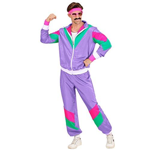 Amakando Proll Trainingsanzug - XL (54) - Polyester Anzug Herrenkostüm Prolet Sportanzug New Kids Jogginganzug Bad Taste Outfit 80er Jahre Kostüm