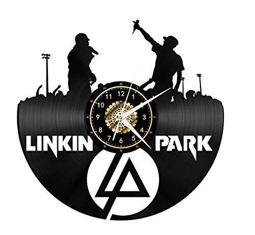CNLSZM 3D Retro Vinyl Wanduhr Kreative Schallplatte Wanduhr Linkin Park Stumm Uhr Dekoration Geschenke-with LED