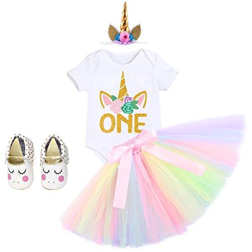 IWEMEK Baby Mädchen Einhorn Geburtstag Kostüm Kleinkinder 1. Geburtstag Outfit Prinzessin Strampler Body Regenbogen Tütü Rock Einhorn Stirnband Schuhe 4tlg Bekleidungssets für Fotografie 12-18M