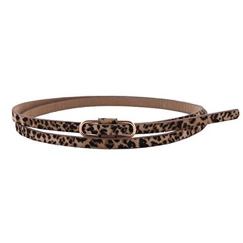 Damara Damen Super Schmal Poppig Jeans Kleid Belt Gürtel,Leopard
