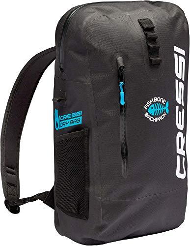 Cressi Fishbone Dry Backpack Mochila práctica, Duradera e Impermeable, Unisex-Adult, Negro, 25 L