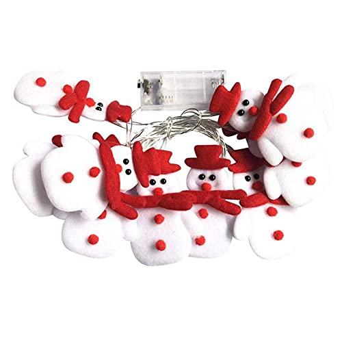 Runfon Led Luces de Cadena muñeco de Nieve Decoraciones de Navidad con Pilas Luz de Navidad Vacaciones de Navidad decoración de Interior al Aire Libre Bedroom Home