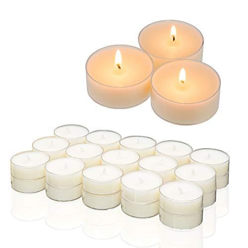 Smart-Planet® Kerzen Ambiente - 30 Stück Teelichter Teelichte Kerze Set weiß - transparente Hülle - 4 Stunden Brenndauer