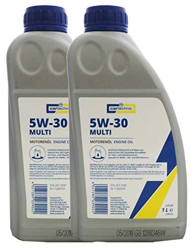 2x cartechnic Leichtlauf-Motorenöl 5W-30 Multi 1Liter, Motoröl SAE 5W30