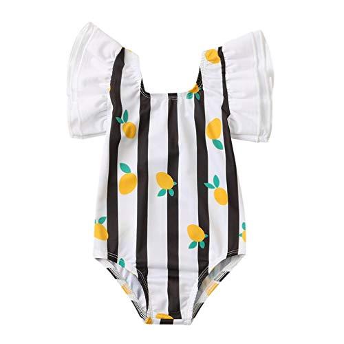 sunnymi – Bañador para bebé, 0 – 4 años, para bebé, niños, niña, arco con volantes, tirantes estampados D Talla:2-3 años